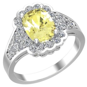 Sterling Silver Lemon Quartz Square Ruffle Ring surrounded by White Topaz