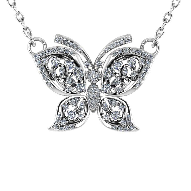 Sweet sterling silver butterfly necklace featuring filigree silhoutte with white CZs