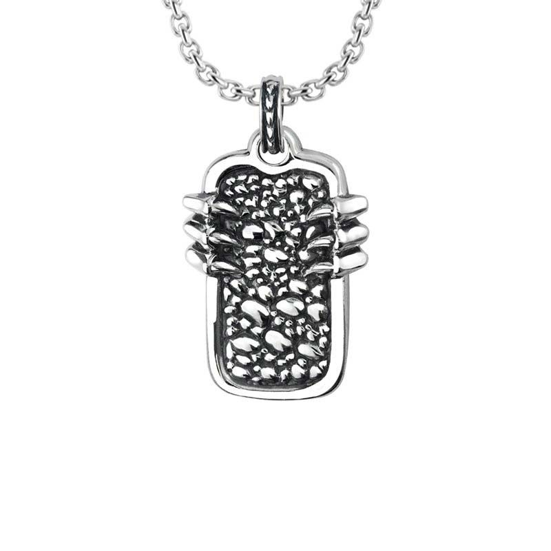Sterling Silver necklace with pebled Dragon claws