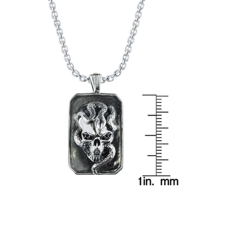 3D Skull Necklace with snake wrapped around RSP-0395-T
