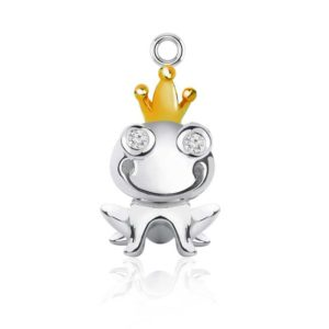 Frog charm made in silver with Gold plated peak crown