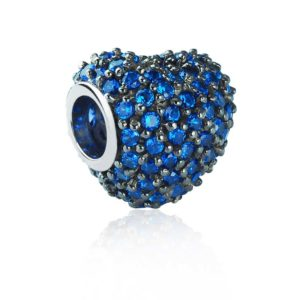 Exquisite silver bead with shiny Blue CZ