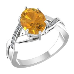 RSR 0155 Citrine ring with diamond 3
