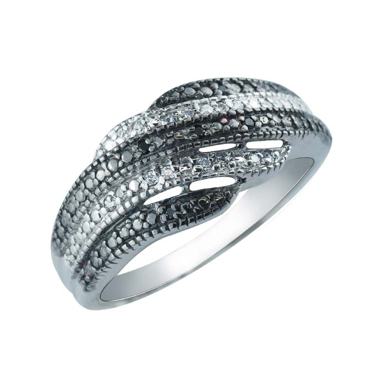 Black and White CZ ring contrasted in undating pattern