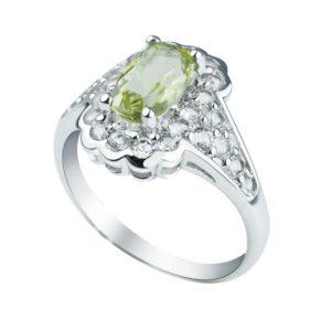 Unique and stylish Lemon Quartz ring surrounded by White Topaz
