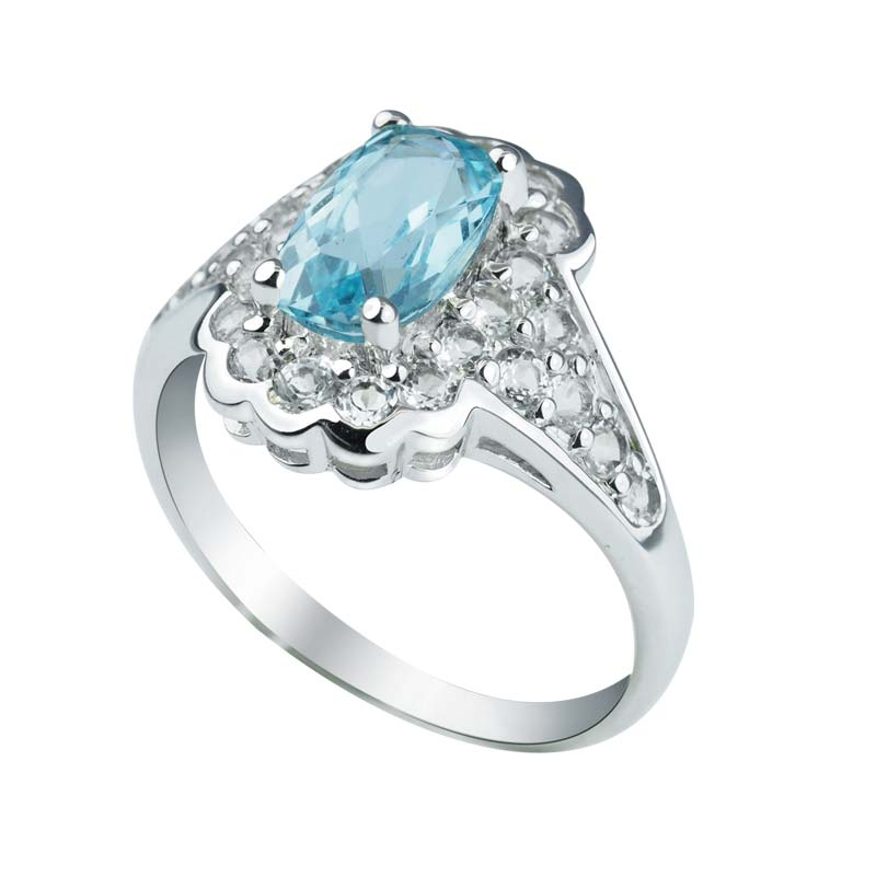 unique and stylish sky blue topaz ring surrounded by white