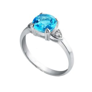 Solitaire ring with Swiss Blue Topaz in Sterling