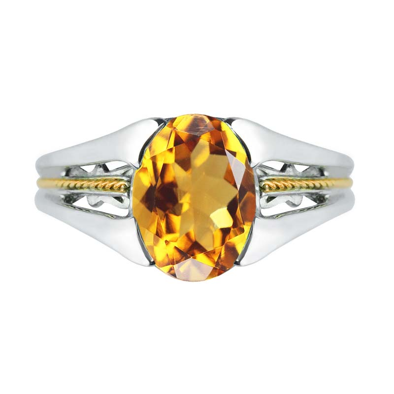Charming 925 Sterling Silver and 14K Gold Citrine ring rsr 0449
