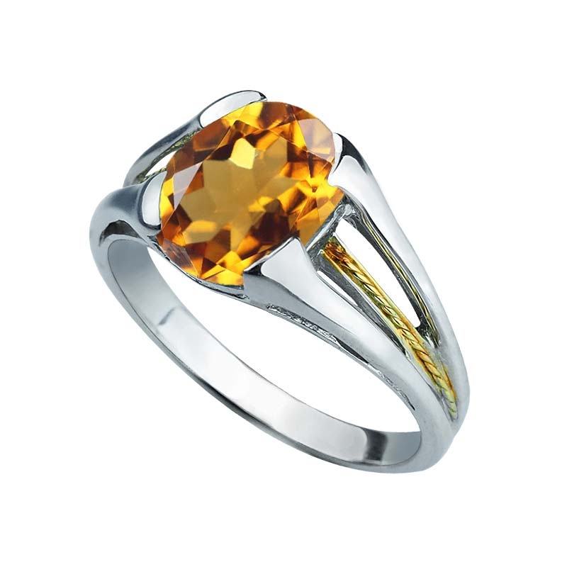 Charming 925 Sterling Silver and 14K Gold Citrine ring