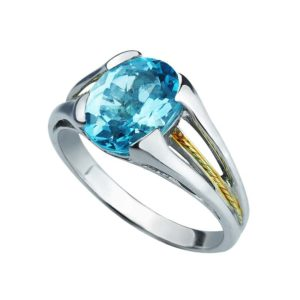 925 Sterling Silver and 14K Gold Swiss Blue Topaz ring