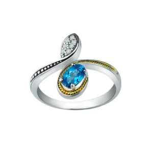 14K Gold and Sterling Silver Ring with Swiss Blue Topaz & Swarovski Crystals