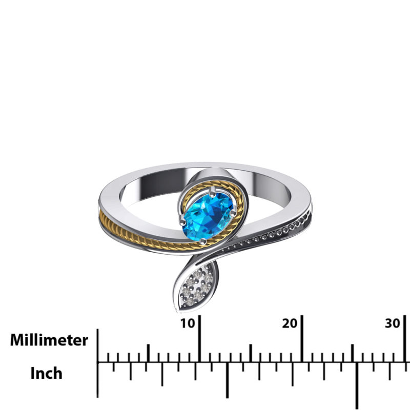14K Gold and Sterling Ring with Swiss Blue Topaz & Swarovski Crystals