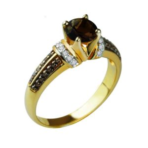 Yellow Gold ring with Smoky Quartz, White and Brown Diamonds