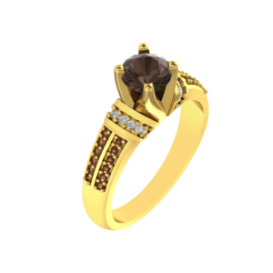 Yellow Gold Plated Ring with Smoky Quartz, White and Brown Diamonds