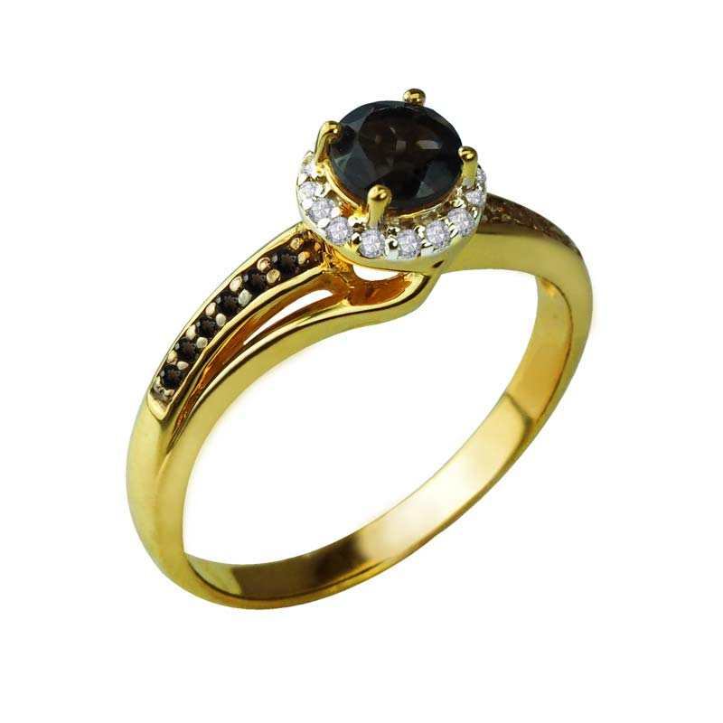 brown diamonds ring on pave with smoky quartz as center stone surrounded by white diamonds RSR-0462-T