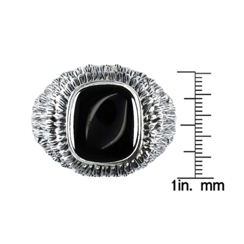 Dramatically masculine Black Onyx ring with intricate design RSR-0473