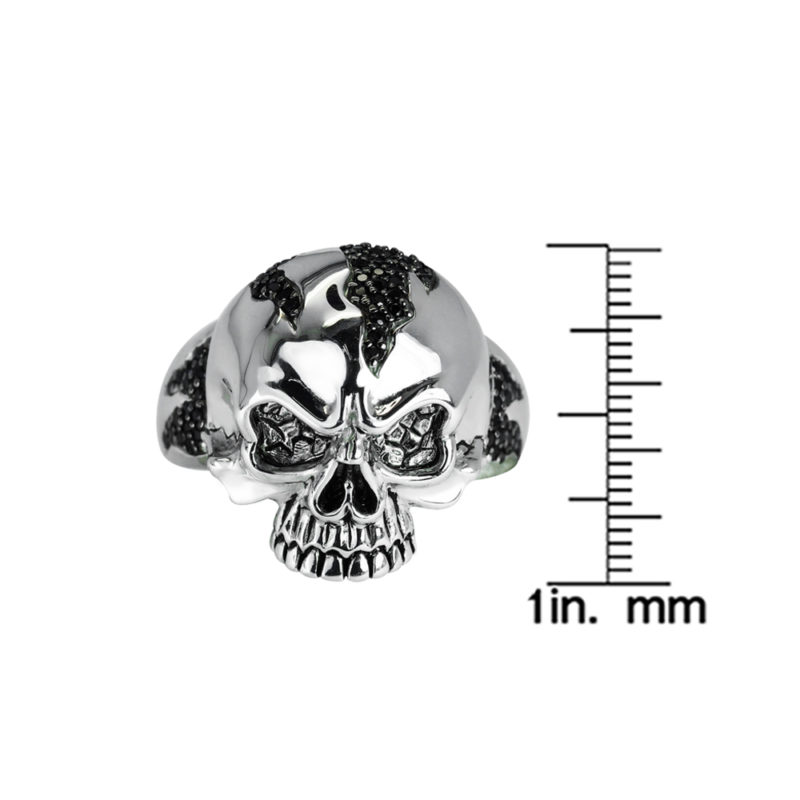 Black Spinel Patterned Solid Sterling Silver Skull Ring