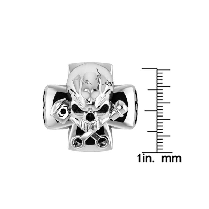 Stylish sturdy Sterling Silver Skull ring with glaring evil eyes RSR-0501