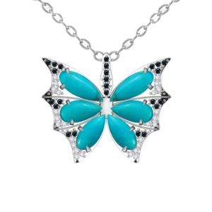 Sterling Silver Butterfly Necklace in Turquoise