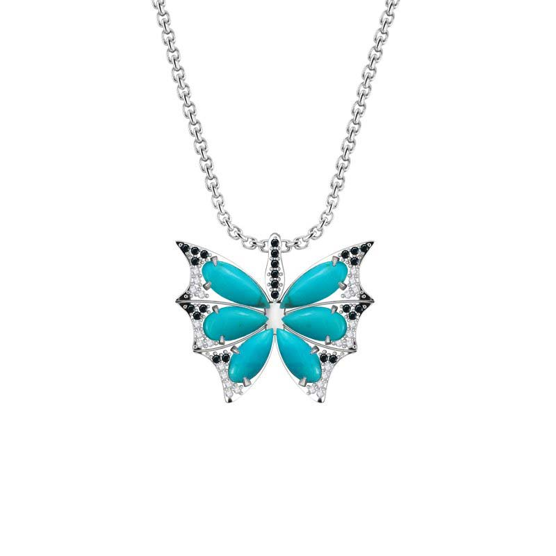 Unique and beautiful Butterfly necklace featuring Turquoise wings