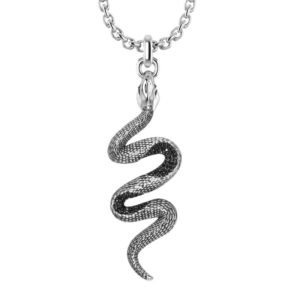 Sterling Silver Black Snake Necklace with Black Spinel