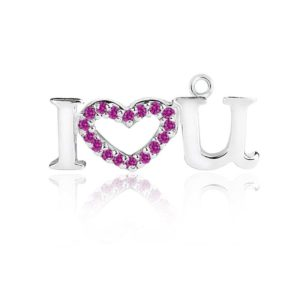 "Sterling Silver ""I love U"" charm pendant with Pink CZ"