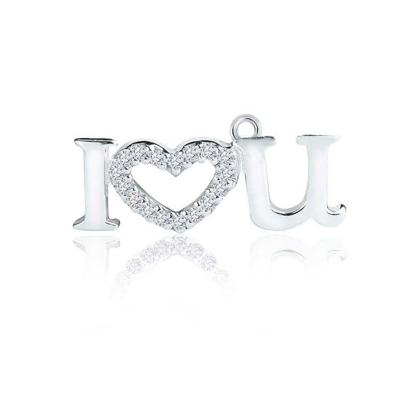 "Sterling Silver ""I love U"" charm pendant with White CZ"