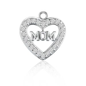 Heart shaped silver pendant for 'Mom' with White CZ
