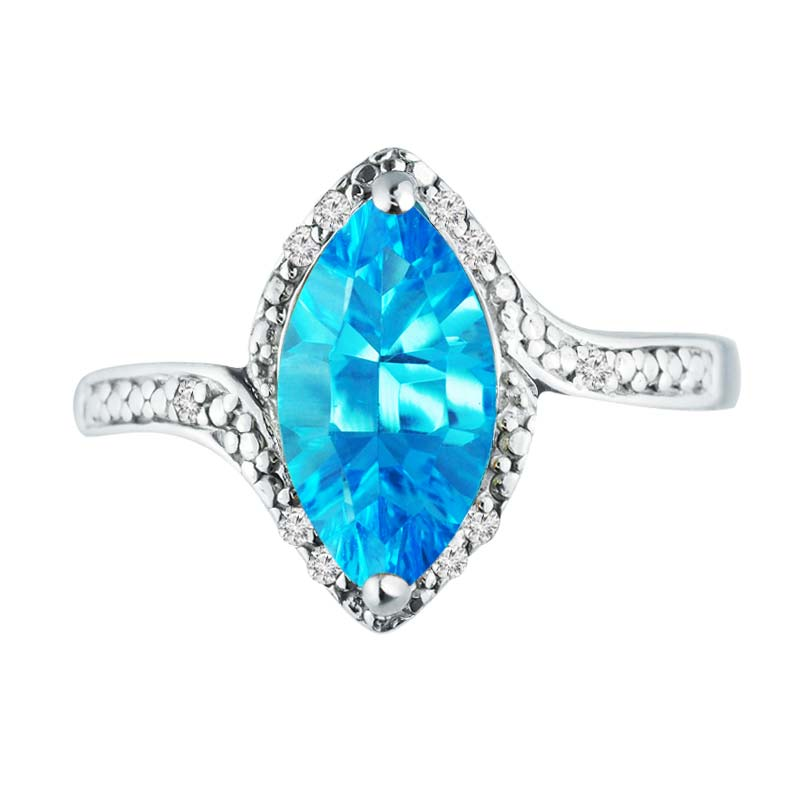 Gorgeous ring with Swiss Blue Topaz surrounded with Diamonds