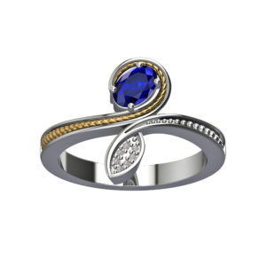 Solid Sterling Silver Bridal Style Engagement Ring with Oval Shaped Blue Sapphire and Crystals with14K Gold Wire