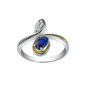 14K Gold and Sterling Ring with created blue sapphire & Swarovski Crystals RSR 0456