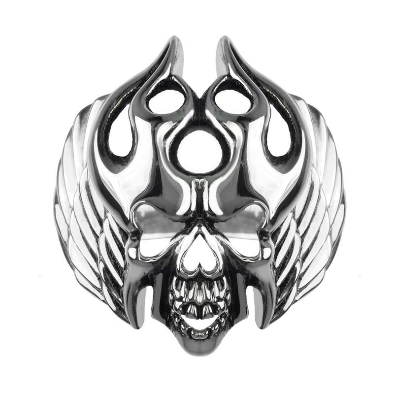 Evil looking silver skull ring with swirling flames