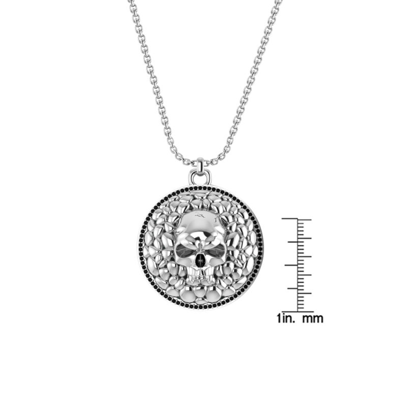 Stylish but Spooky Sterling Silver Skull Necklace