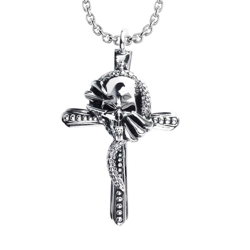 Sterling Silver Cross necklace that entwines with snake