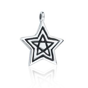 Silver Star pendant charm with contrasting stay inlay
