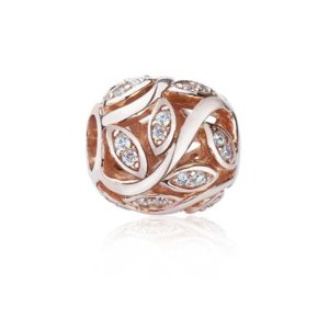 Rose Gold bead with White Cubic Zirconia