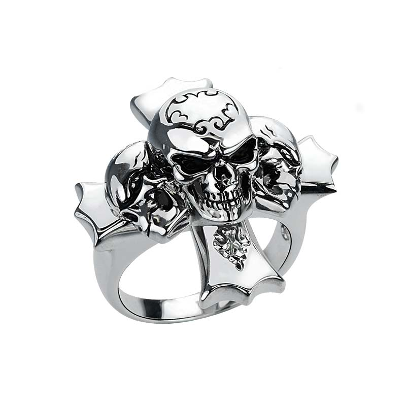 Sterling Silver Skull Ring with intricately etched details