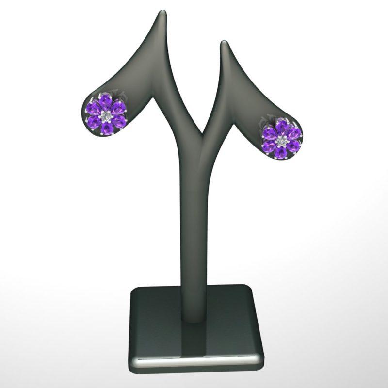 Amethyst birthstone stud earring
