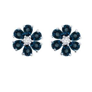 London Blue Topaz Birthstone Flower Earring