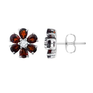 Red Garnet Birthstone Flower Earring