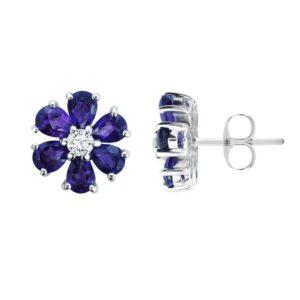 Amethyst Flower Earring | February Birthstone Earring in Sterling