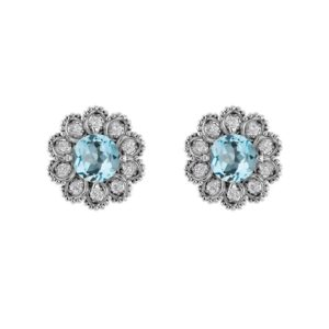 Sky Blue Topaz Birthstone Flower Earring RSE-0194