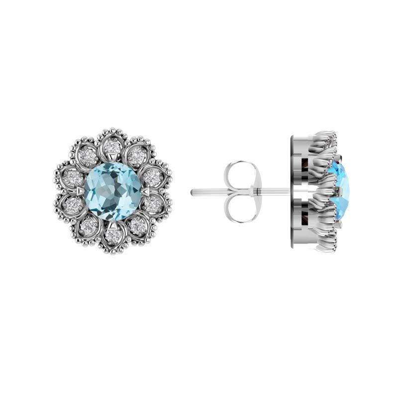 Sky Blue Topaz Birthstone Flower Earring RSE-0194