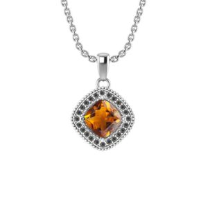 Natural Citrine Square Pendant Necklace