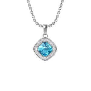 Swiss Blue Topaz Square Pendant Necklace