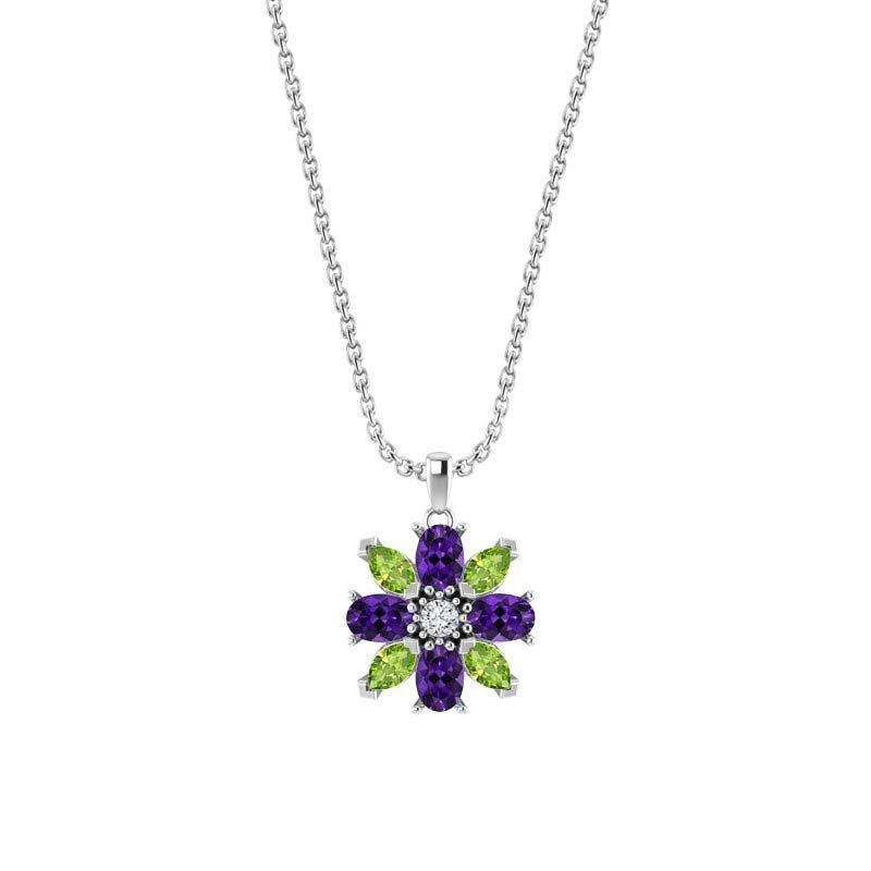 Sterling Silver Amethyst and Peridot Flower Pendant
