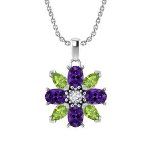 Sterling Silver Amethyst and Peridot Flower Pendant RSP-0421 B