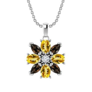 Sterling Silver Garnet and Citrine Flower Pendant