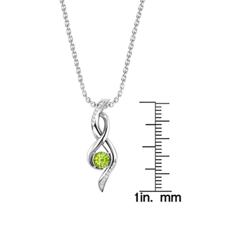 Sterling Silver Infinity Necklace in Peridot