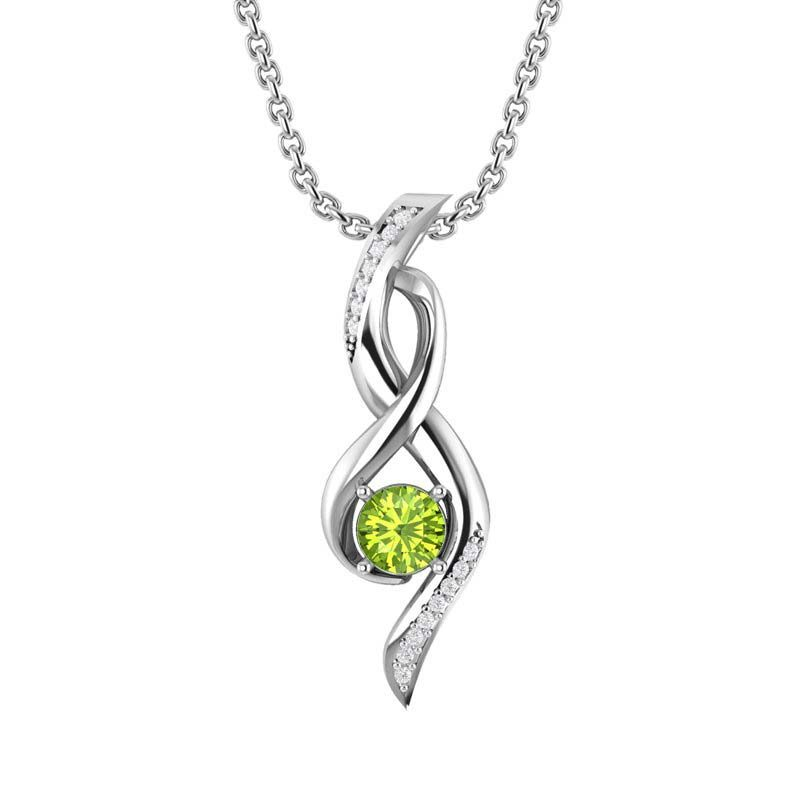 Silver Infinity Necklace with Peridot RSP 0467 A